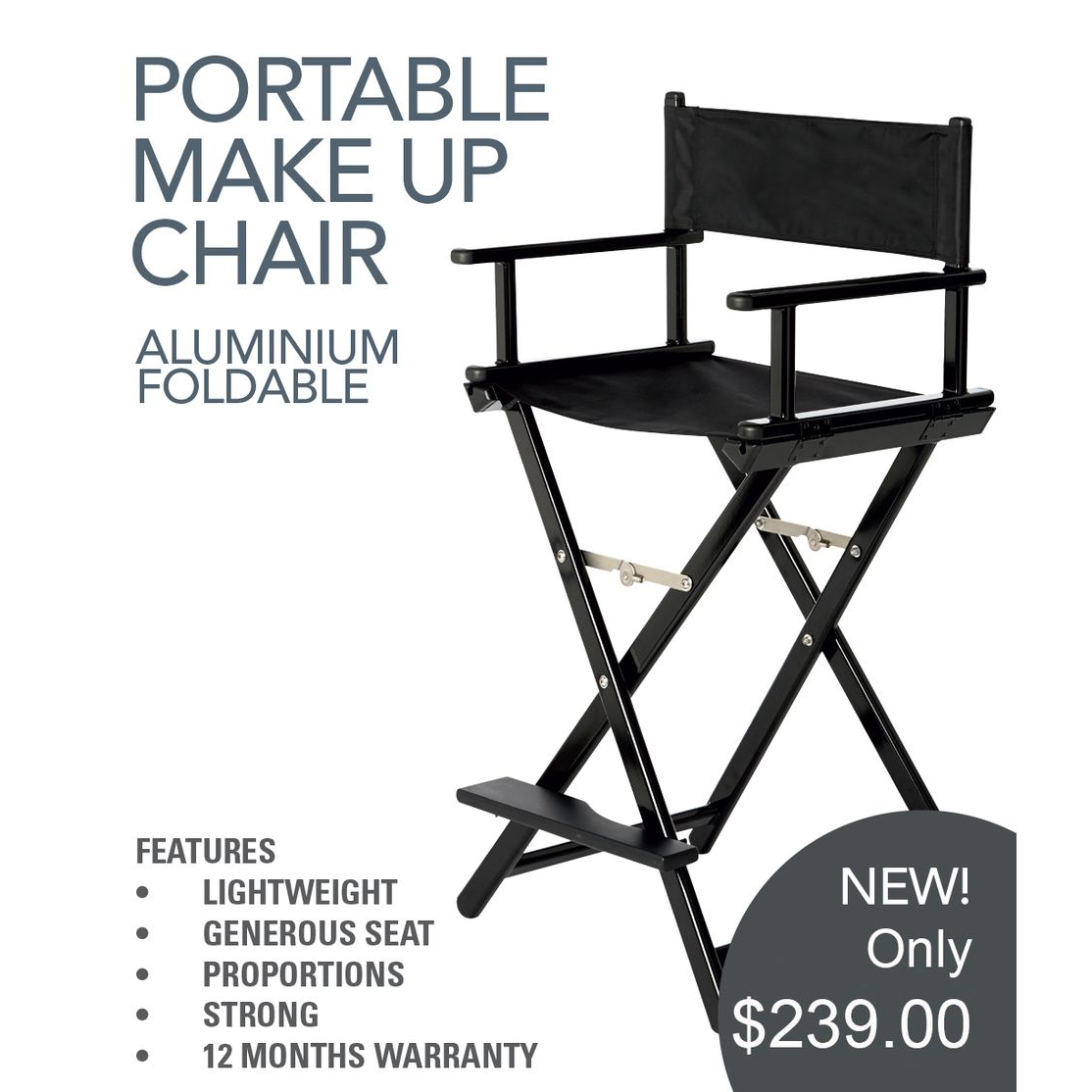 Portable makeup chair - Aqua Aluminium Foldable Makeup Chair Directors Chairprofessional Make Up Salon Supplies